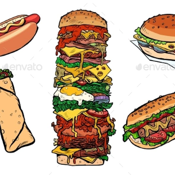 Collection Set Fast Food Kebab Burger Hot Dog