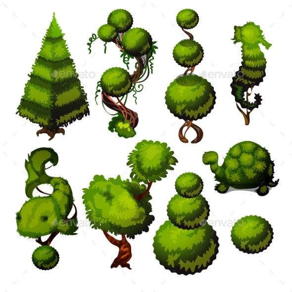 Set of Trimmed Shrubs in the Shape of Animals - Flowers & Plants Nature