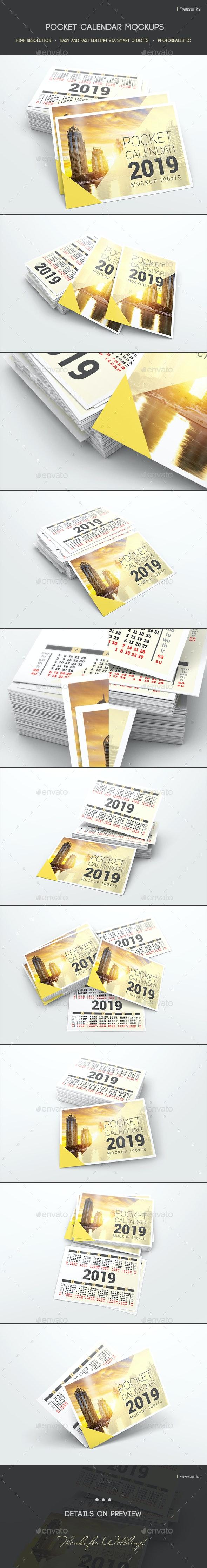 Pocket Calendar Mockups - Miscellaneous Print