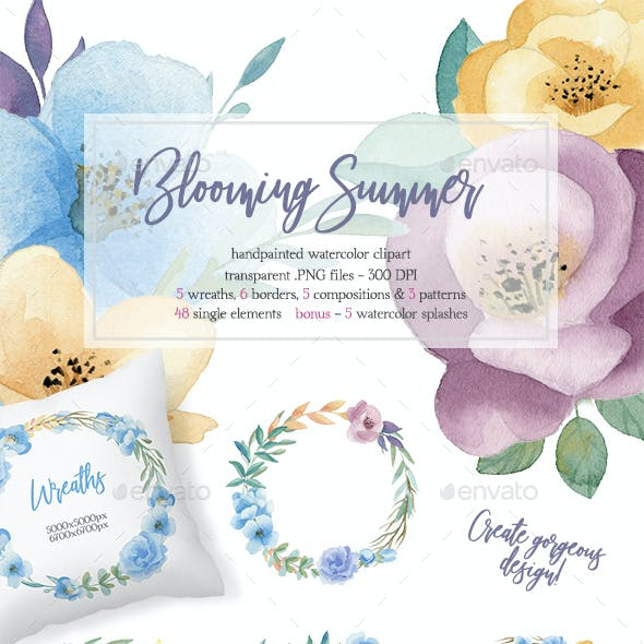 Blooming Summer Watercolor Floral Elements Set (Clipart).