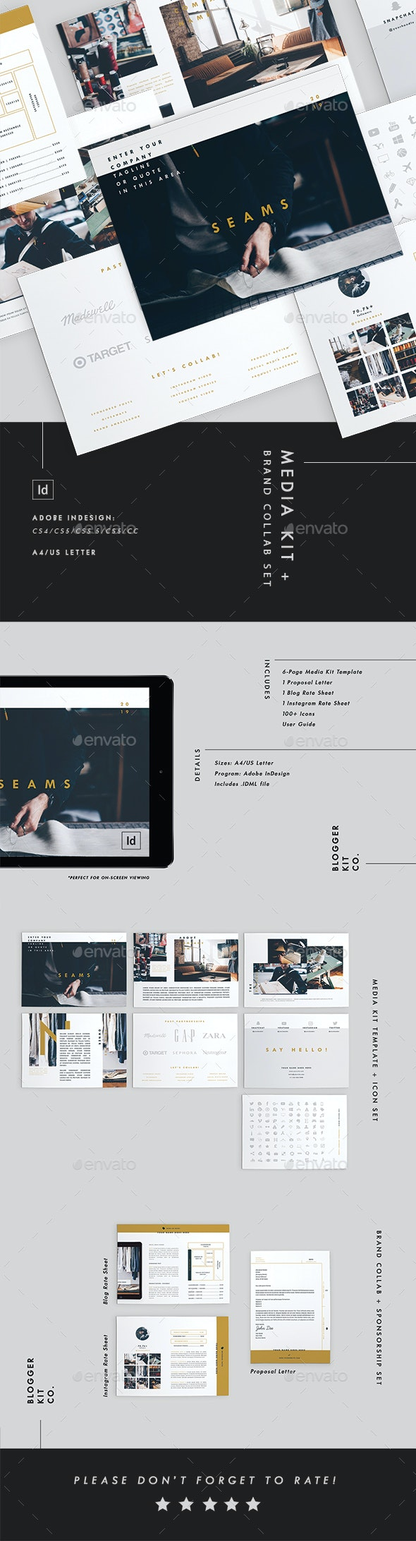 Media Kit Template + Brand Collab Set - Resumes Stationery
