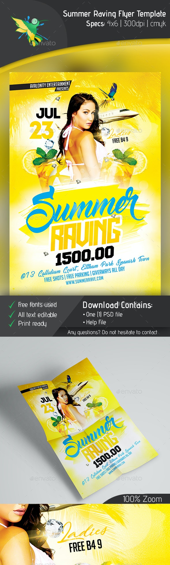 Summer Raving Flyer Template - Clubs & Parties Events