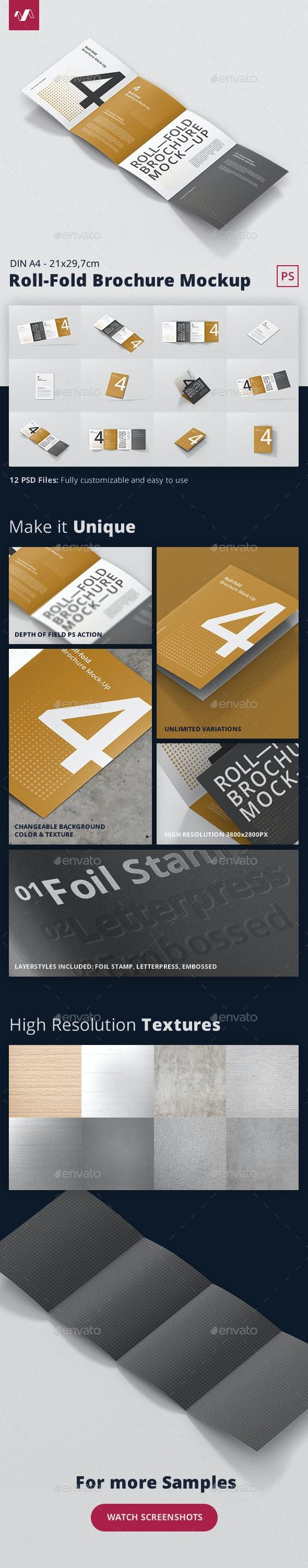 Roll-Fold Brochure Mockup - Din A4 A5 A6 - Brochures Print