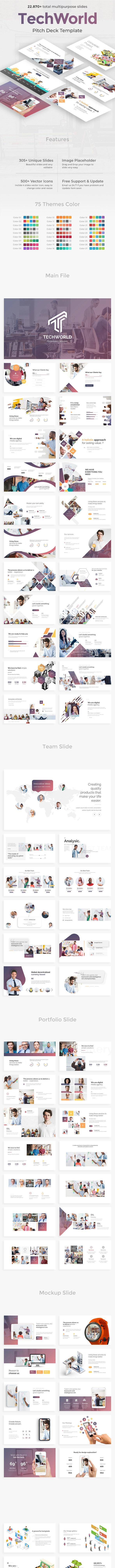 TechWorld Pitch Deck Multipurpose Google Slide Template - Google Slides Presentation Templates