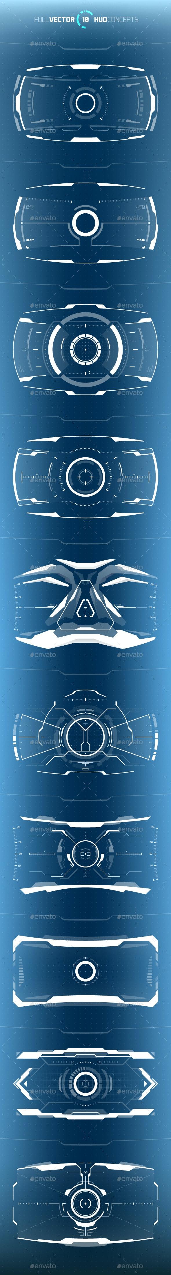 Conceptual 10 Hi-Tech HUD Set - Computers Technology