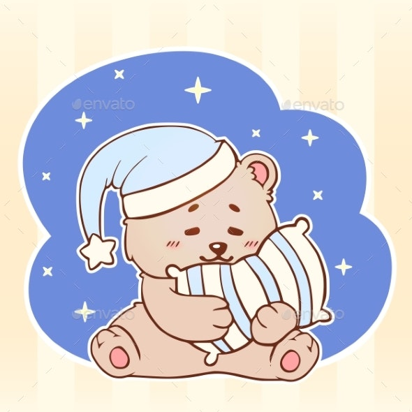 Sleeping Bear with Pillow Sweet Dreams - Animals Characters