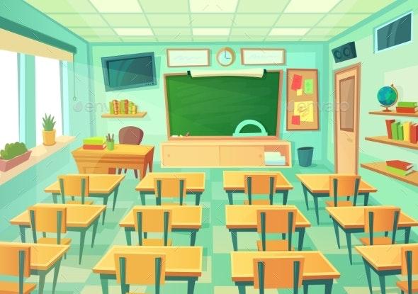Empty Cartoon Classroom - Miscellaneous Vectors