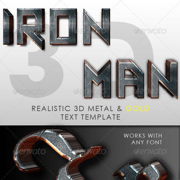 Iron Man 3D Text Template