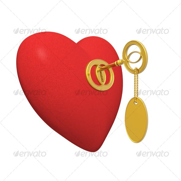 red heart and golden key