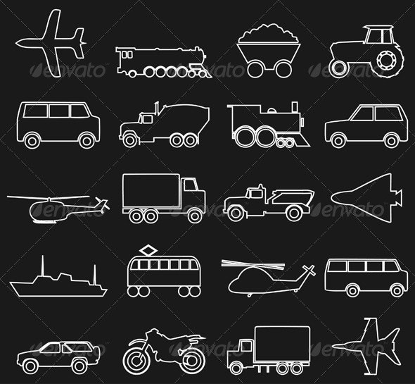 Transport Icons 3 - Man-made objects Objects