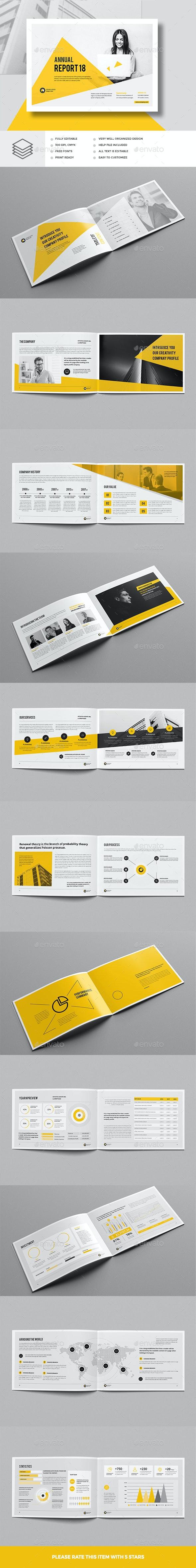 Annual Report Template A4 Landscape - Corporate Brochures