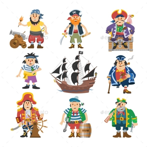 Pirate Vector Character and Buccaneer Man - People Characters