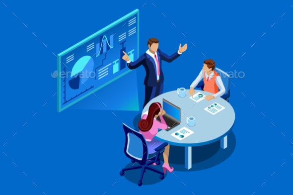 Business Analysis Flat Isometric Banner - Concepts Business