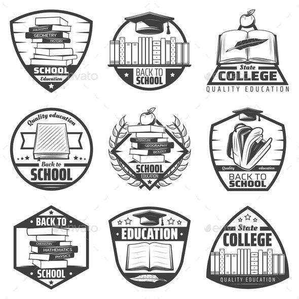 Vintage Monochrome Education Labels Set - Miscellaneous Vectors