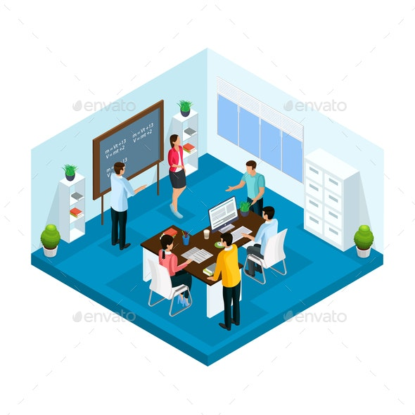Isometric Learning Process in University Template - People Characters