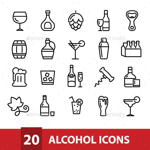20 Alcohol Icons - Food Objects