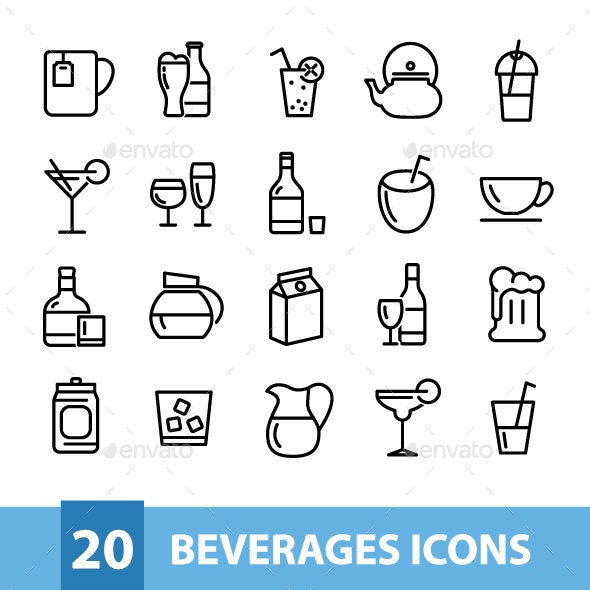 20 Beverages Icons - Food Objects