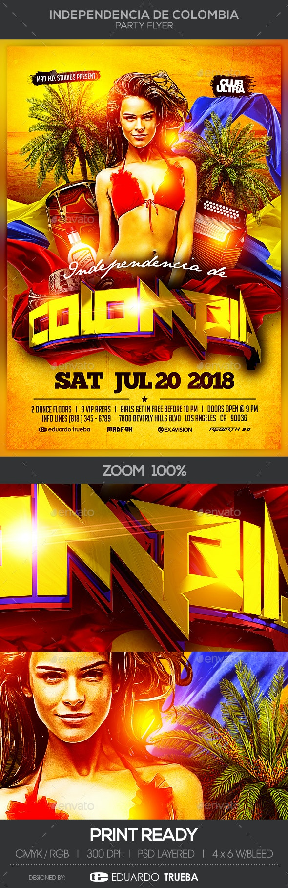 Independencia de Colombia Party Flyer - Clubs & Parties Events