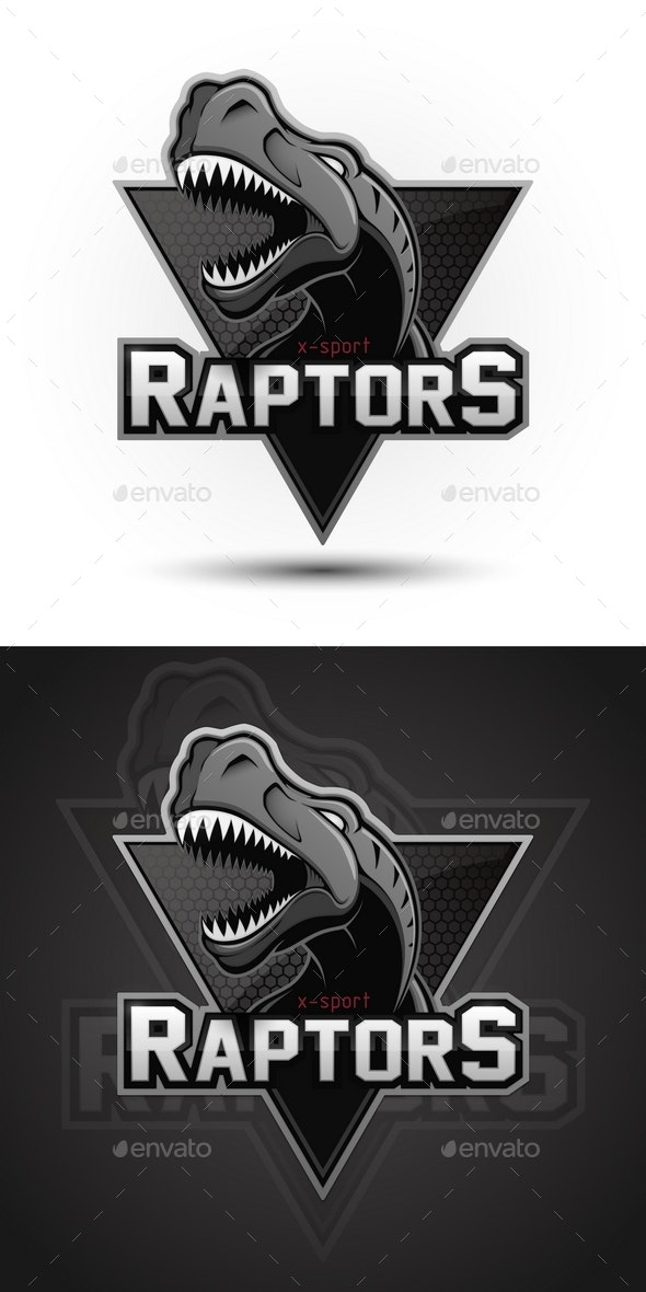 Vector Sports Emblem of Dinosaur Raptor - Animals Characters