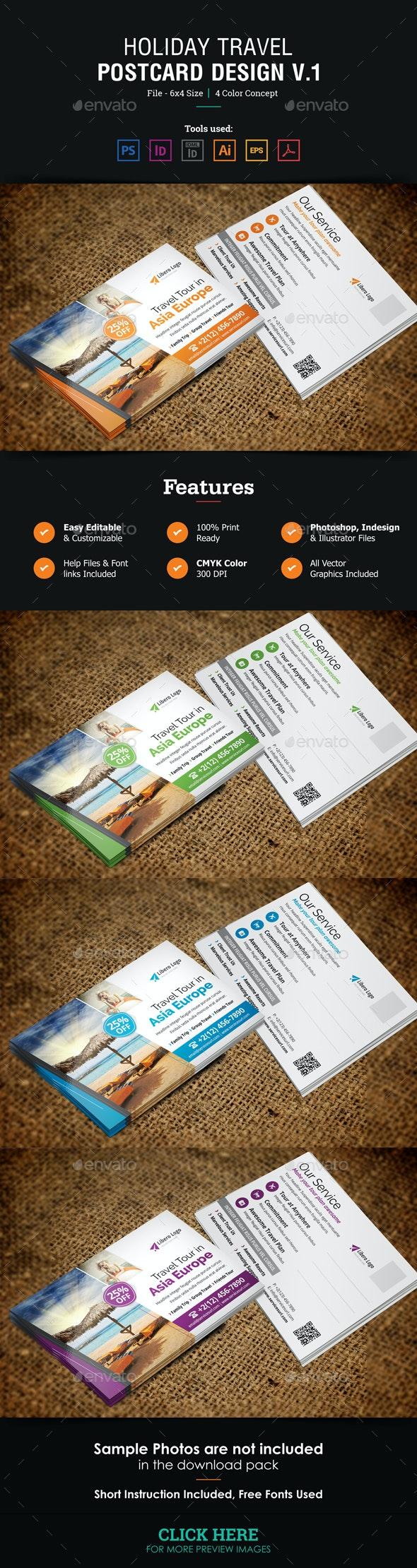 Holiday Travel Postcard Design v1 - Cards & Invites Print Templates