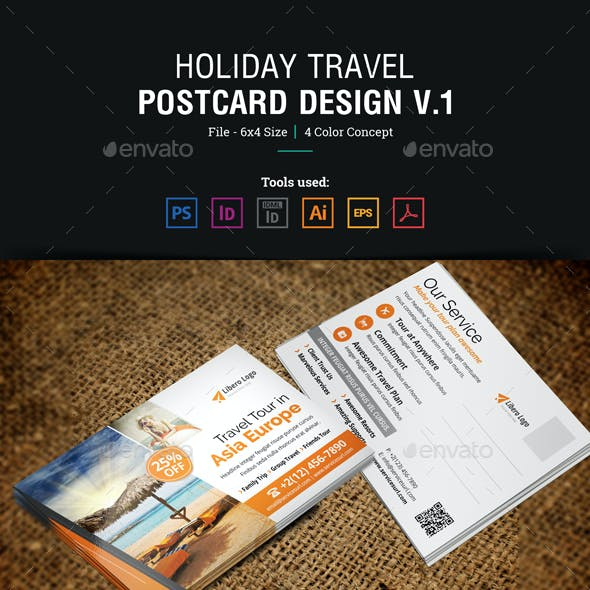 Holiday Travel Postcard Design v1