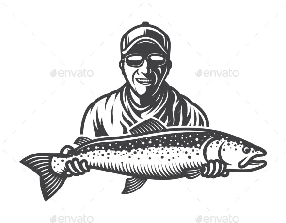 Vintage Monochrome Fishing Concept - Miscellaneous Vectors