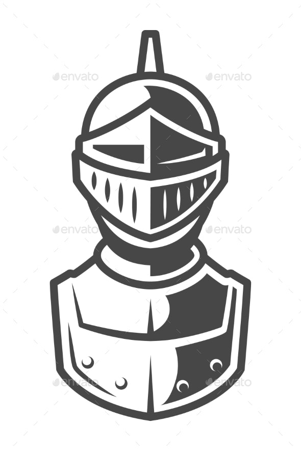 Knight Metal Helmet Front View Template - Miscellaneous Vectors