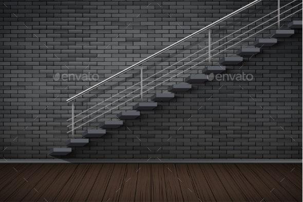 Dark Brick Wall and Prison or Loft Interior - Sports/Activity Conceptual