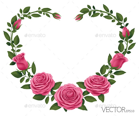 Pink Roses with Heart Shape - Flowers & Plants Nature