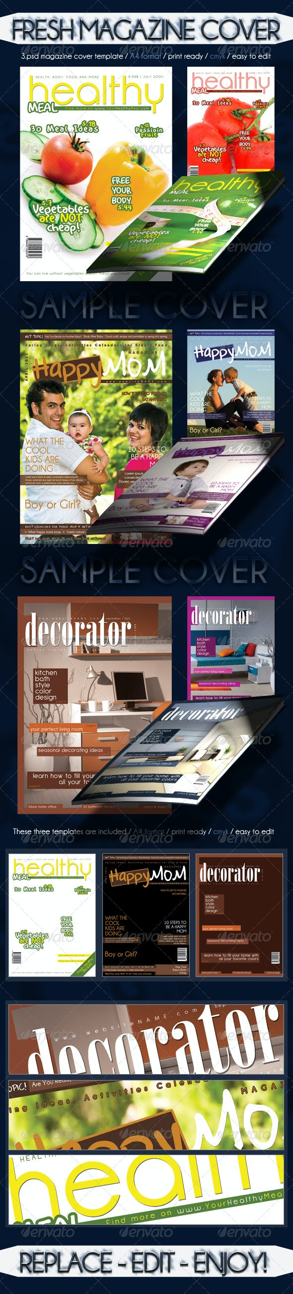 Fresh Magazine Cover Template - Magazines Print Templates