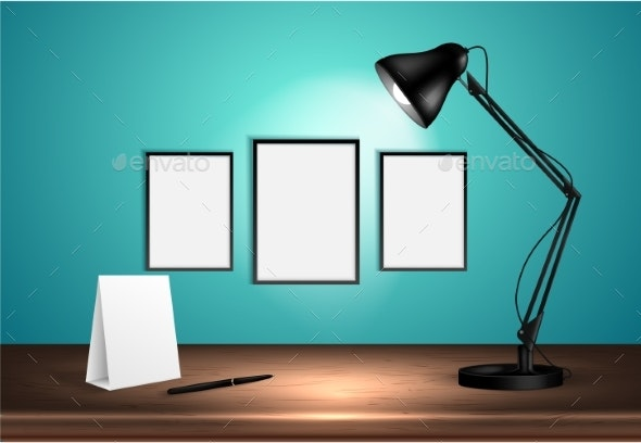 Desk Lamp on Wooden Table Lights Up Empty Space - Man-made Objects Objects