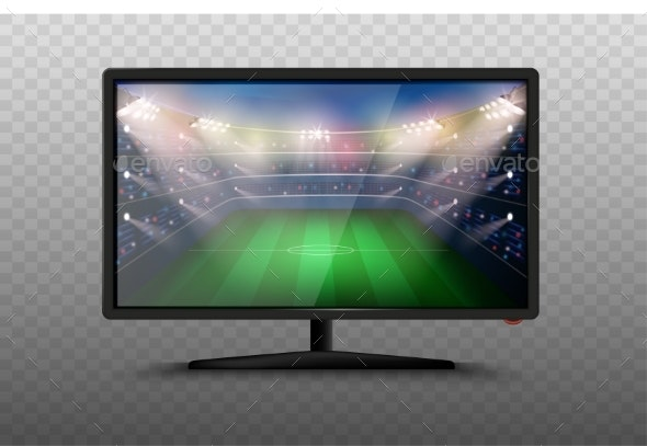 Modern Smart TV with Field Vector Illustration - Computers Technology
