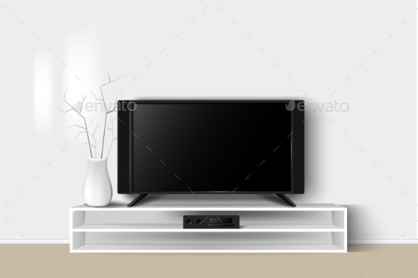 Vector Illustration of LED TV on a Wooden Stand - Computers Technology
