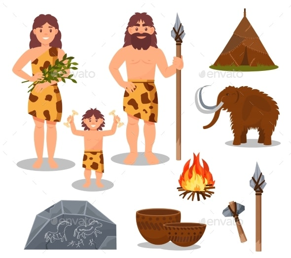 Stone Age Symbols Set - Miscellaneous Vectors