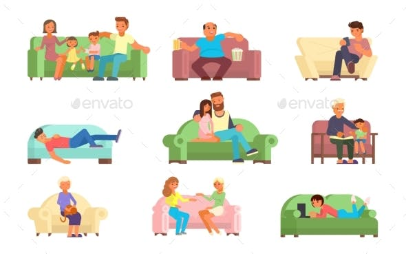 People On Sofa Vector Flat Style Illustration By Siberianart