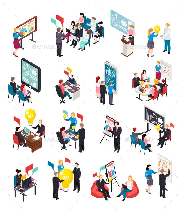 Business Coaching Isometric Icons - Concepts Business