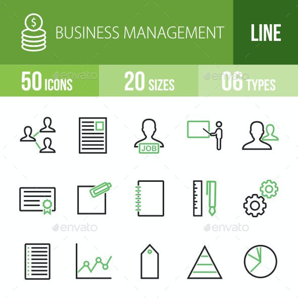 Business Management Green & Black Icons