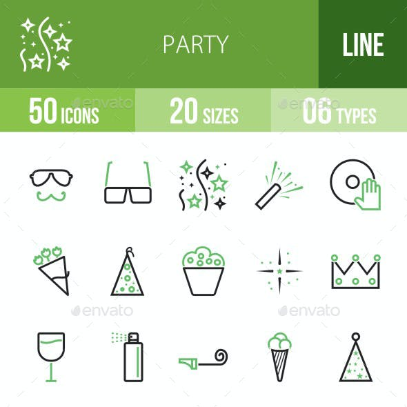 Party Green & Black Icons