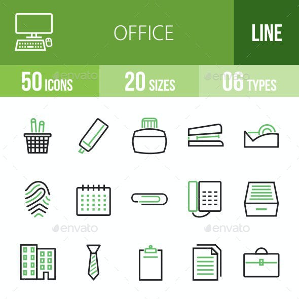 Office Green & Black Icons