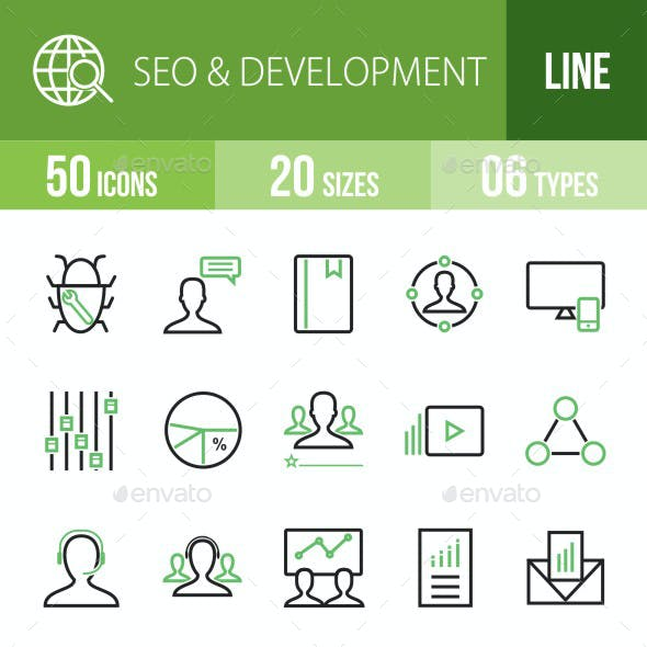 SEO & Development Services Green & Black Icons