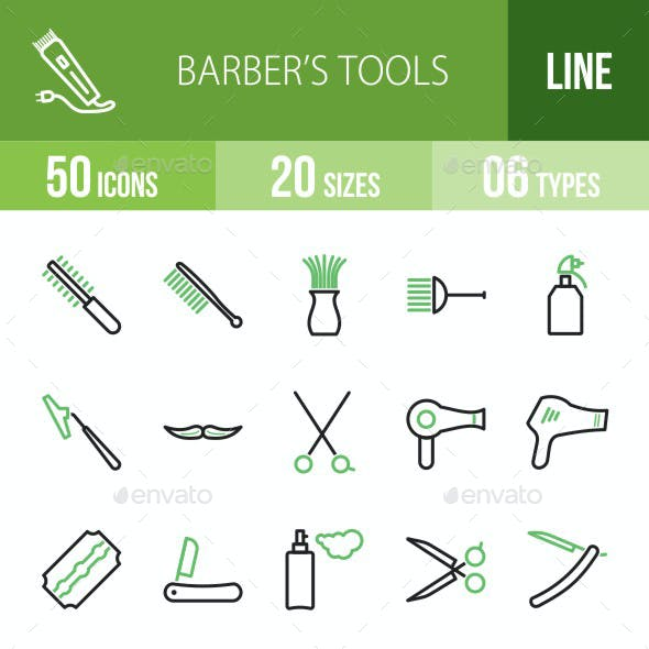 Barber's Tools Green & Black Icons