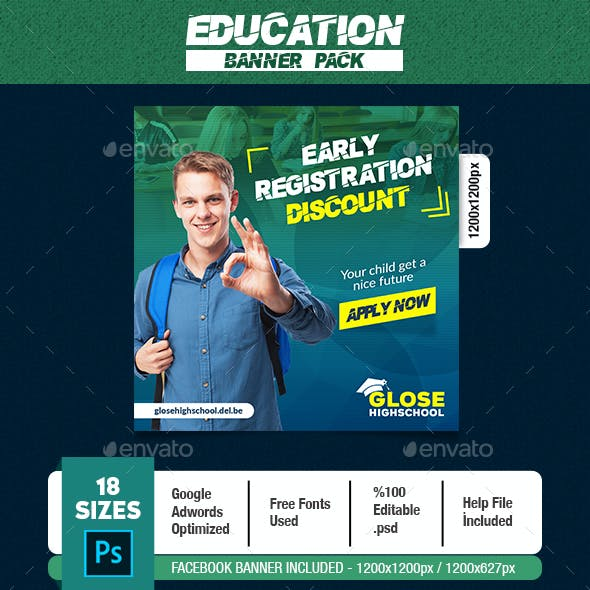 Education Banner Graphics Designs Templates From Graphicriver
