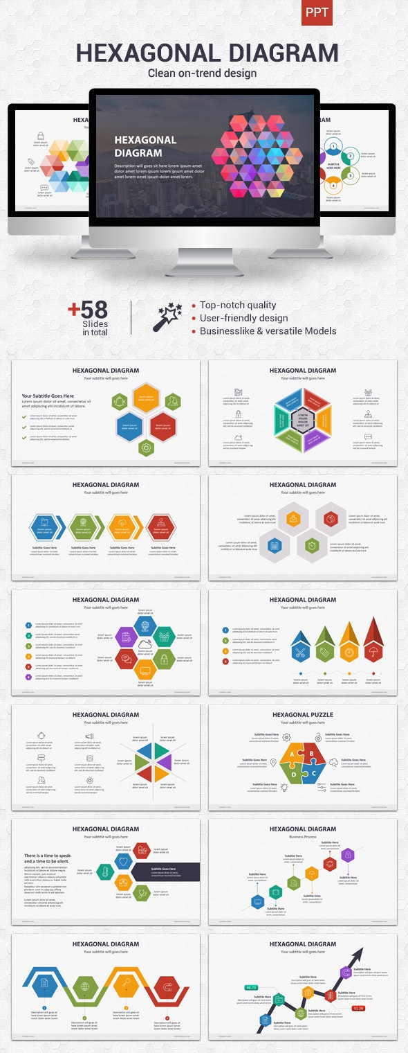 Hexagonal Diagram - Powerpoint - Business PowerPoint Templates
