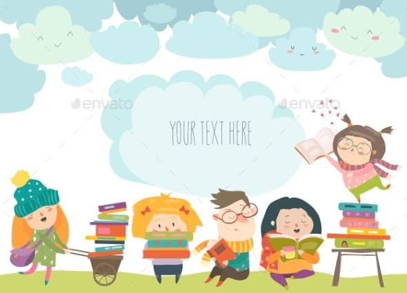 Group of Cartoon Children Reading Books - Miscellaneous Vectors