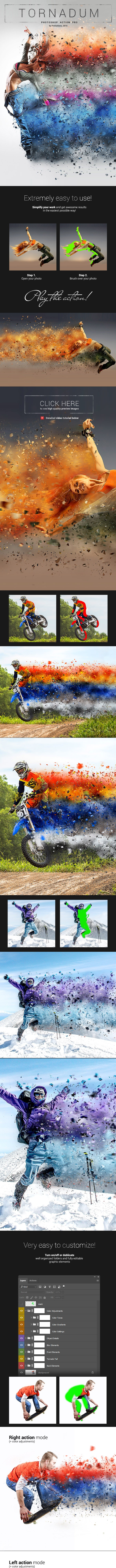 Tornadum - Powerful Dispersion Photoshop Action - Photo Effects Actions