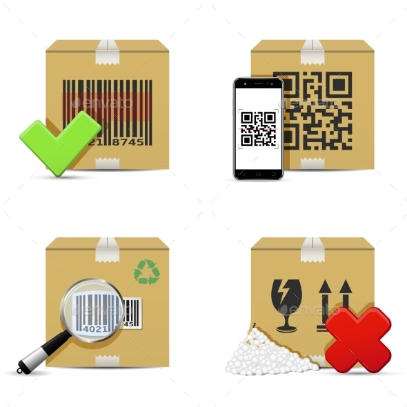 Checking Delivery Cardboard Boxes Icons - Man-made Objects Objects