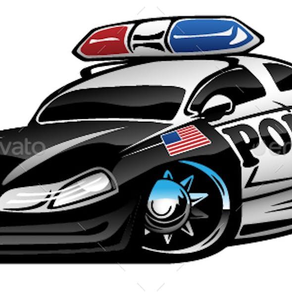 Police Muscle Car Cartoon