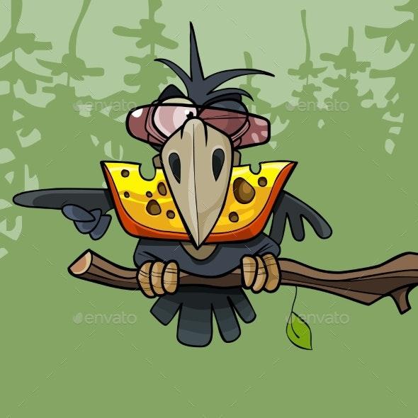 Cartoon Crow Keeps Cheese in Its Beak - Animals Characters