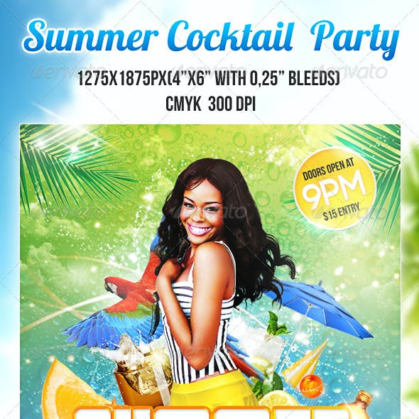 Summer Cocktail Party PSD Flyer Template