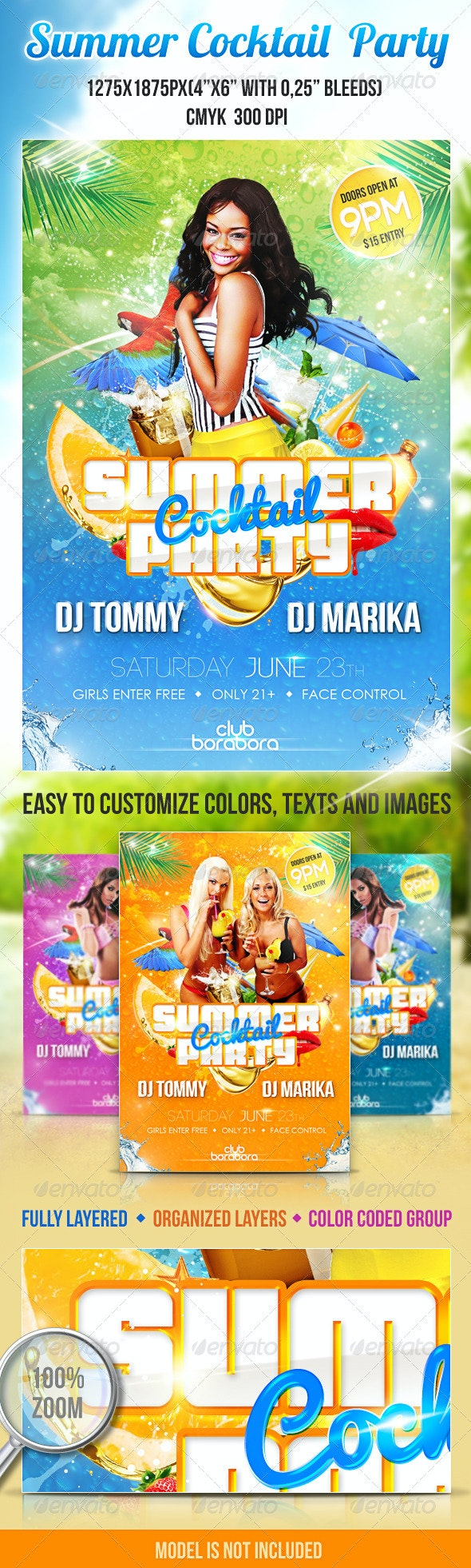 Summer Cocktail Party PSD Flyer Template - Clubs & Parties Events